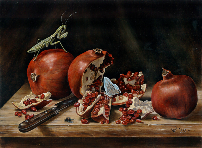 Pomegranates, cut open, the symbol of Persephone. In one of the pomegranate stands a moth.